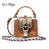 Nó của Yiiya 2017 new đến kim loại khóa màu thạch trong suốt vai túi một sợi dây thừng túi xách SN033