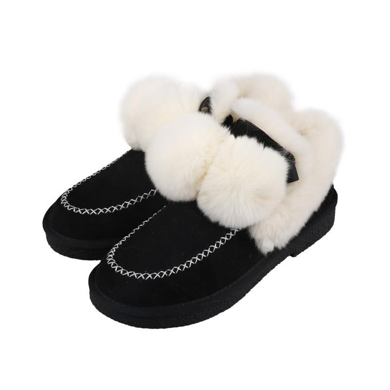 Fourrure Neige black Et Décoration Bottes Élégant Cuir De Boule Non D'hiver Frais Chaud En Chaussures Femmes glissement Court Poils Khaki Mat 8m0vwNnO