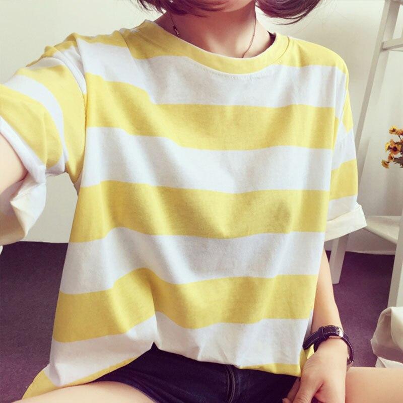 summer Korean style vogue Striped women t shirt Short Sleeve O Neck tunic vintage tee 2019 New loose Basic harajuku cute clothes