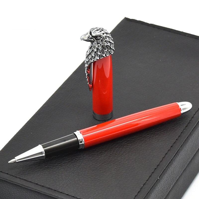 1 pc cadeau Rollerball stylo luxe aigle Design Clip noir rouge métal 0.5mm haut de gamme cadeau stylos pour affaires école fournitures de bureau