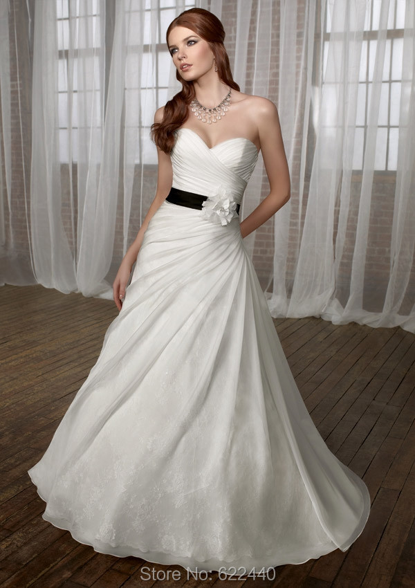 unique designer a line wedding dresses organza with lace bridal gown with black ribbons wedding gown bridal dress
