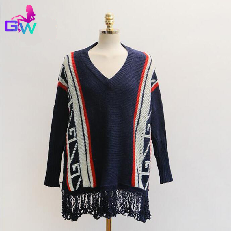 42a4d812a3c1 Women Sweater Cloak V Neck Knitted Tassel Sweaters Bat Sleeve Pullovers  Geometric Jacquard Women Sweater 2 Colors-in Sweaters from Women s Clothing  on ...