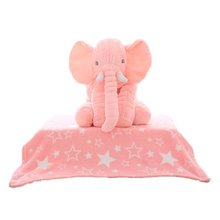 60cm Elephant Stuffed Plush Toy Soothing Pillow Sleeping With Baby Doll Comfortable 2 in 1 Blanket Kids Gifts