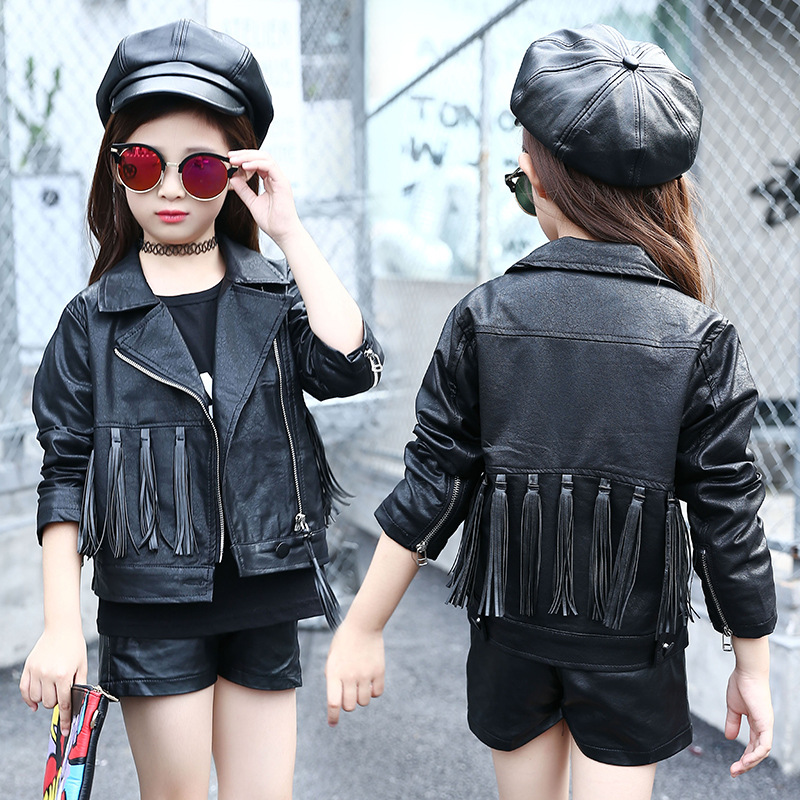 Kids Motorcycle Jacket PU Leather Girls Jackets Clothes Children Outwear Tassel Girl Tops Clothing Zipper Coats Costume spring autumn kids motorcycle leather jacket black boys moto jackets clothes children outwear for boy clothing coats costume