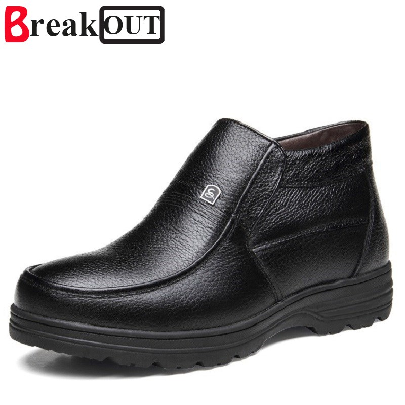 Break Out Men Winter Boots Snow Noots for Men Genuine Leather High Top Warm Plush Inside