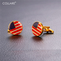 Collare American Flag Cufflinks For Mens Gold Color Luxury Cuff Links Wholesale Jewelry Cufflinks High Quality