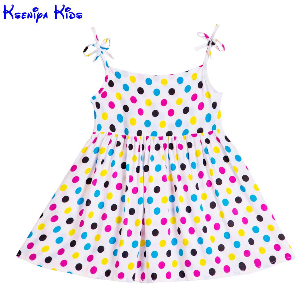 Kseniya Kids 2017 Baby Girls Summer Beach dot print Cotton Dress Little Girl Dresses kids Girls Clothes cute Style Flower Dress kseniya kids new summer children baby