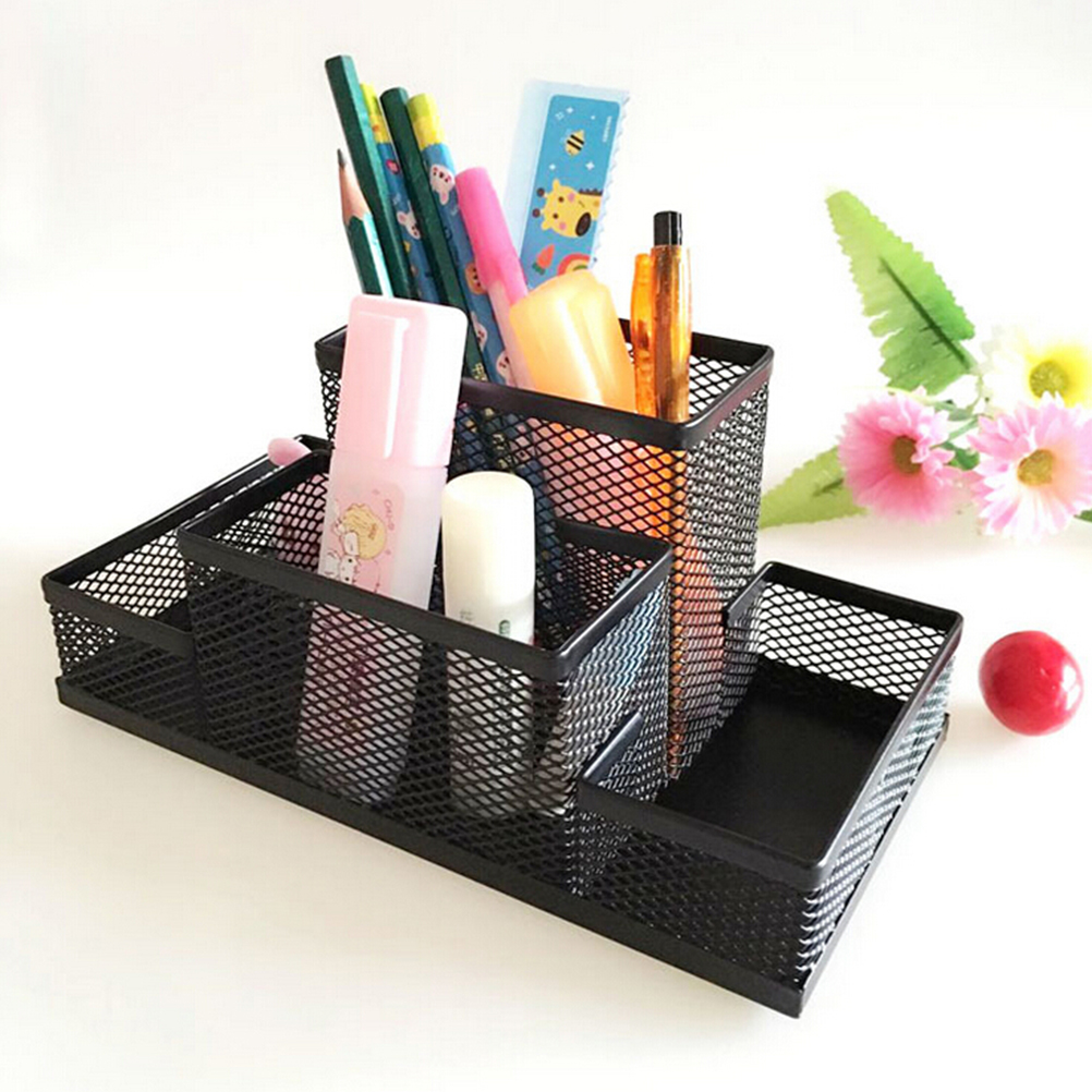 Sturdy mesh reading desk organizer metal storage box metal pen holder office home supplies - Desk stationery organiser ...
