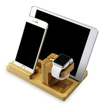 Natural Bamboo Wood Hard Tablet Stand Premium PC Phone Holder for Apple iPad Mini IPhone Smart Watch Multifunction Bracket