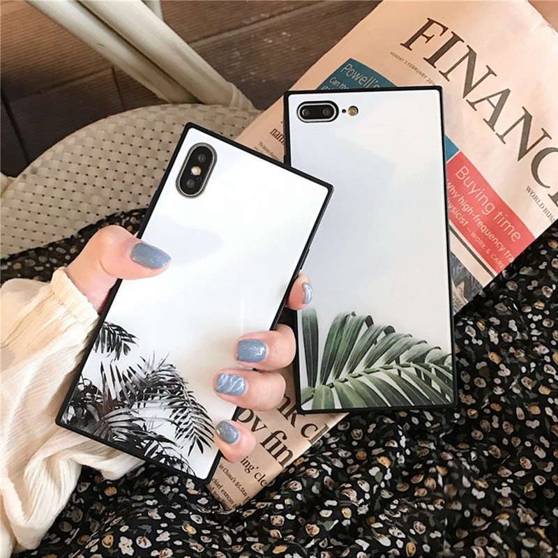 Green Leaf Glossy Glass Phone Case For iphone X Case For iphone 6S 6 7 8 Plus Fashion Simple Leaves Hard Back Cover Soft Cases