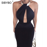 Sibybo Halter Backless Split Sexy Party Dresses Off Shoulder Sleeveless Sheath Women Bodycon Dress Autumn Casual