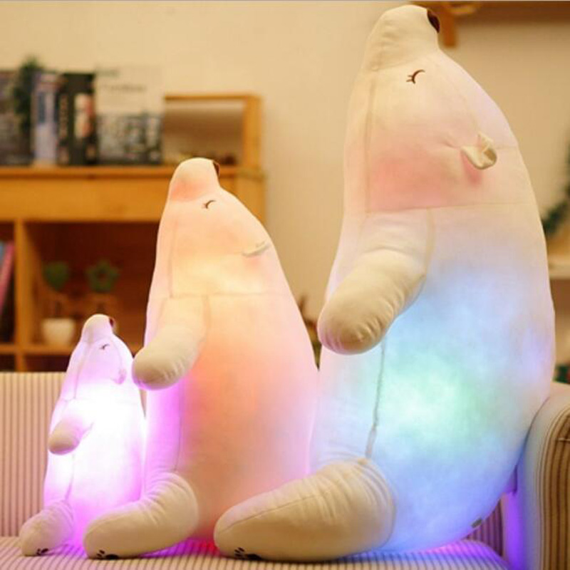 Colorful Flash LED Plush Toy Polar Bear Light-emitting Kids Doll Soft Animal Stuffed Pillow Cute Gift for Children Luminous Toy 30cm plush toy stuffed toy high quality goofy dog goofy toy lovey cute doll gift for children free shipping