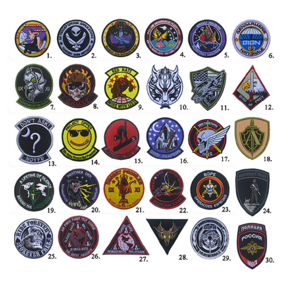 1pcs 3D high quality 100% embroidery patches Loops and hook Grim Reapers/ secret service/Ghost squadron/Project zipper patches