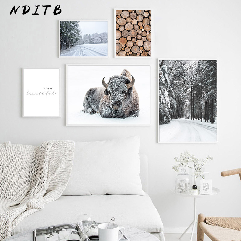 Winter Landscape Pictures Scandinavian Posters Nordic Forest Scenery Wall Art Canvas Prints Painting Modern Home Room Decoration