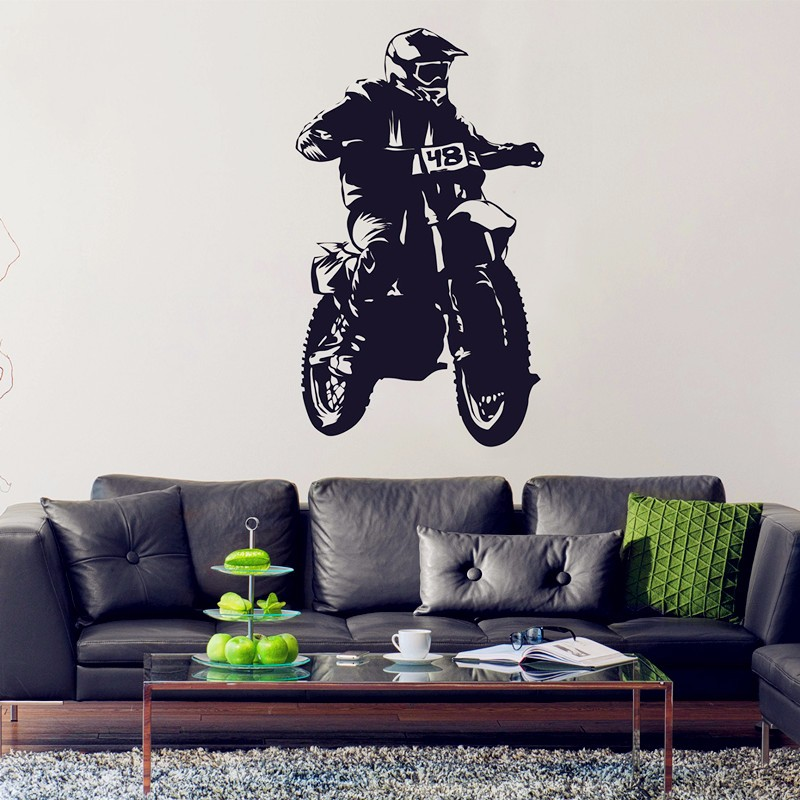 Waterproof creative vinyl Cool motorcycle wall sticker Dirt Bike wallpaper art mural sticker of home decoration ...