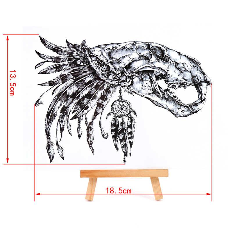 Crânio de dinossauro de dreamcatcher tatoo adesivos temporários relogio pesca flash do tatuagem adesivos harajuku xha beleza maquiagem maquiagem