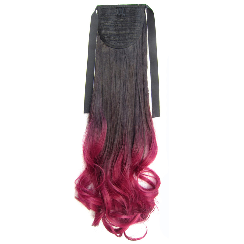 Similler 22 Ombre Long Curly Wrap Around Ponytail Synthetic Hair Extension 90g 13 Colors Available