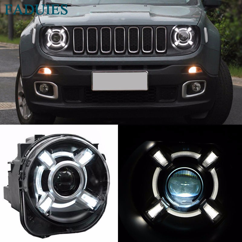 1 Pair For 2015-2017 Jeep Renegade HID Headlight with DRL and Bi-xenon Projector For Jeep Renegade BU HID H4 Head Lamp Headlights (1)