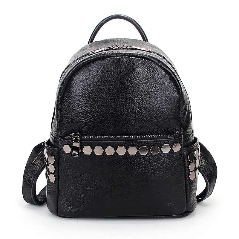 Famous brand rivets women backpack genuine cow leather school backpacks teenage girls shoulder bag large capacity travel bags women s backpacks genuine leather female backpack women school bag for girls large capacity shoulder travel mochila