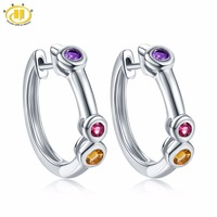 Hutang Women's Clip Earrings Natural Gemstone Amethyst Citrine Rhodolite Garnet Solid 925 Sterling Silver Fine Elegant Jewelry