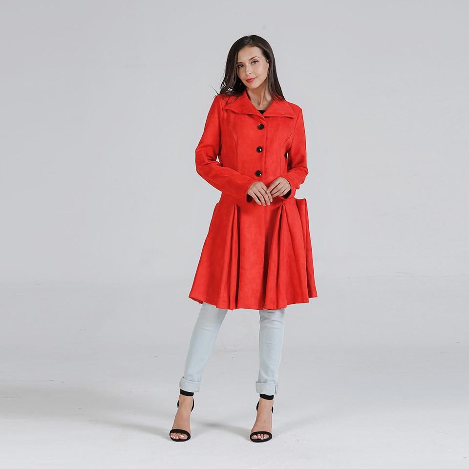 Street Winter Slim Elegant Fashion Long Trench Solid Lapel Wear Brand Wool Women Coat Warm Overcoat Thick Outwear Office Red New wwx6q