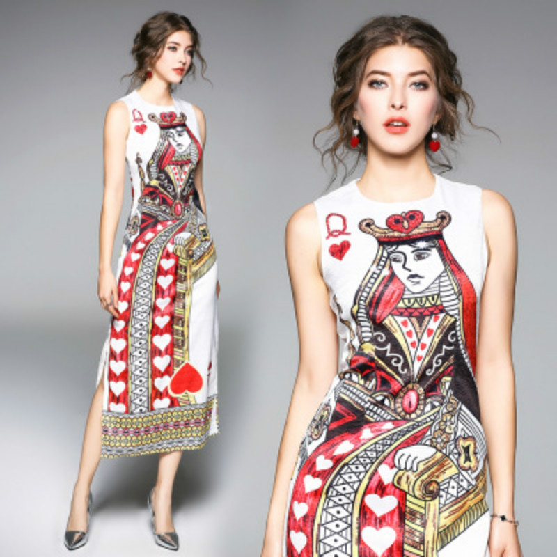 High Quality Sexy Print Play Card Creative Women Dresses 2018 Europe America Style Plus Size XL
