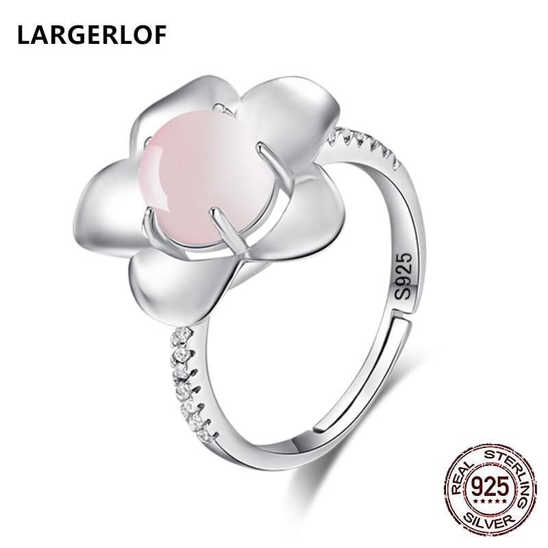 LARGERLOF Real 925 Sterling Silver Ring Women Fine Jewelry Rose Quartz Wedding Rings For Women RG50001
