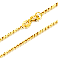 RINYIN Fine Jewelry Genuine 18K Yellow Gold Necklace Pure AU750 Square Box Chain 16 18 Inches