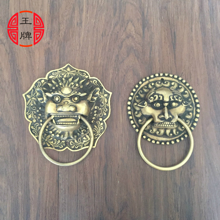 Chinese antique copper small beast Head Knocker handle lion head handle door handle classical shop first chinese antique copper fittings knocker copper handle big lion tiger beast head copper shop first hand ring gate