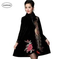 New Vintage Velvet Phoenix Embroidery Coat Winter Embroidered Trench Coat Women Large Size 4xl Mandarin Collar