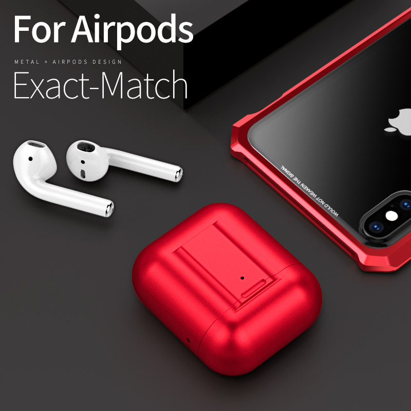 Aluminum Metal Case For Apple AirPods Earphone Luxury 360 Degree Full Body Cover Shockproof Airpods Charging Box