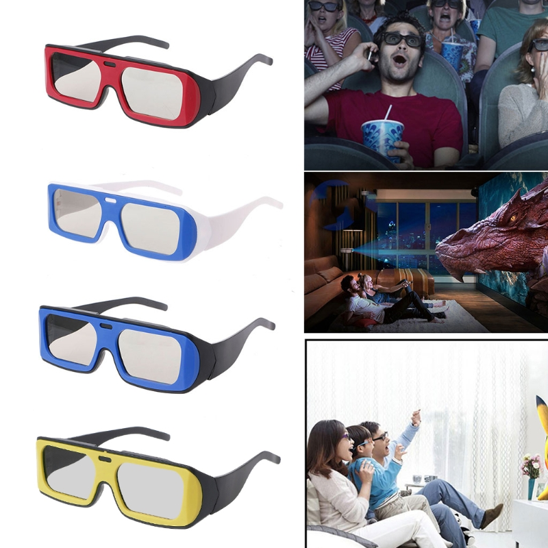OOTDTY 3D Glasses Dual Color Frame Circular Polarized Passive 3D Stereo Glasses For Real D 3D TV Cinema