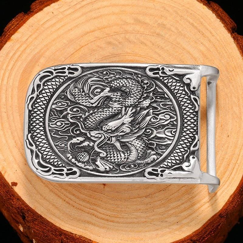 Luxury Vintage Mens' Belt Buckle 990 Sterling Silver Belt Buckles For Men Skull Tiger Dragon Biker Suitable For 4cm Width Belt