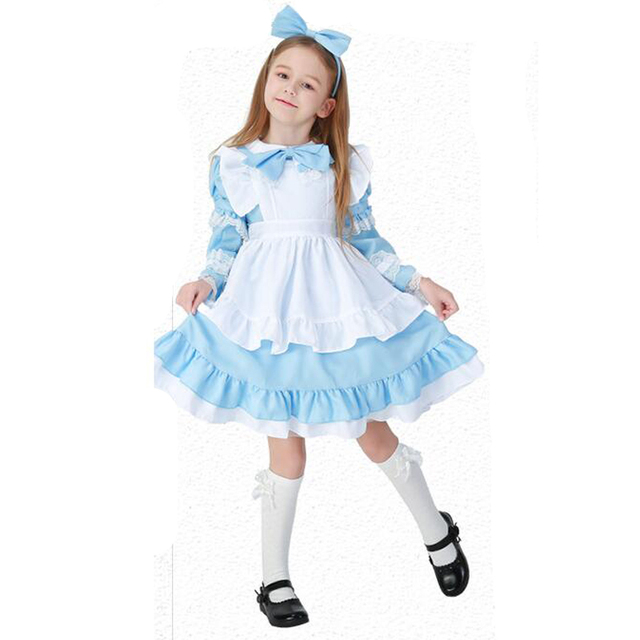 yuerlian kids alice halloween costume cosplay maid women girls princess dress roleplay party cosplay game stage