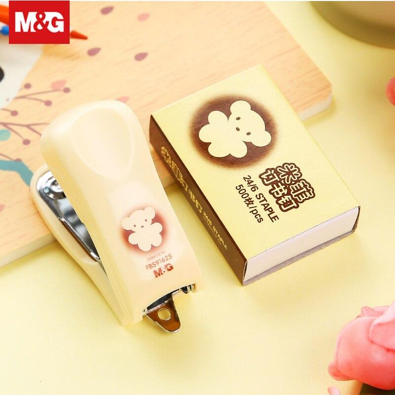 Cartoon Mini Manual Stapler Set 24/6 Staple Paper Clip Binding Binder Kawaii Stapler Book Sewer Office Binding Supplies Fbs91625
