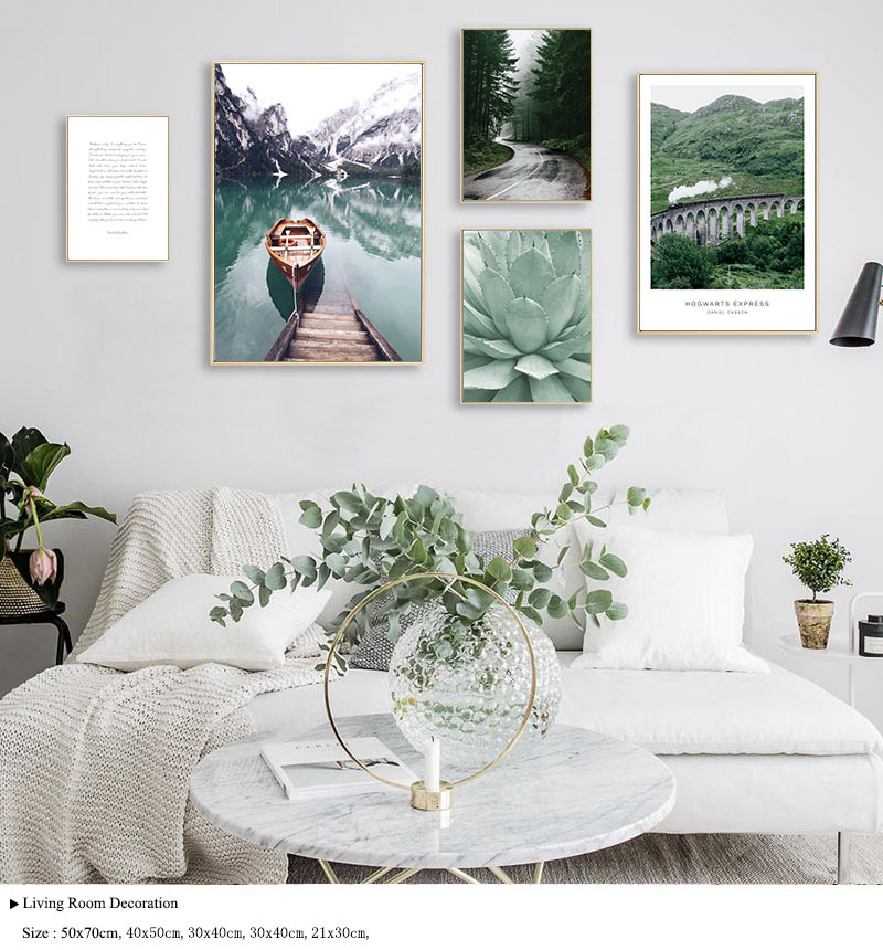 Scandinavian Boat Lake Canvas Poster Nature Nordic Style Landscape Wall Art Print Painting Decorative Picture Living Room Decor