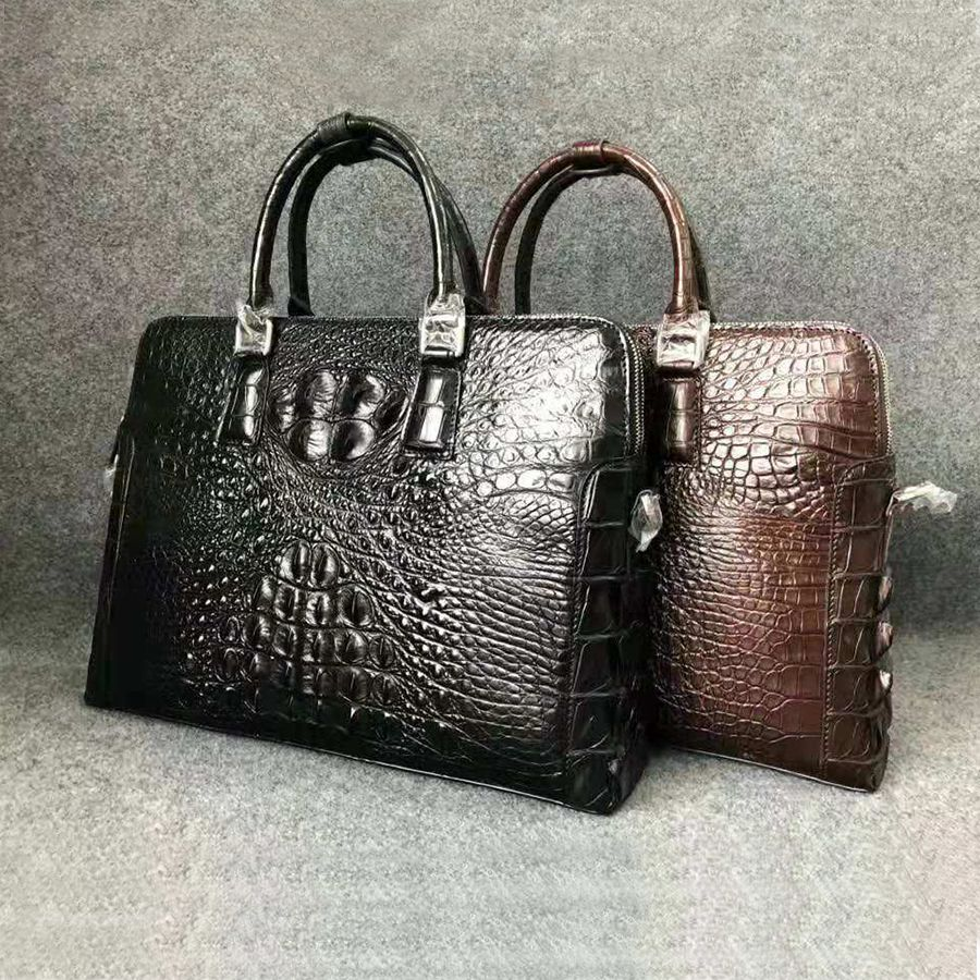 Mens Luxury High End Genuine Crocodile Leather Briefcase Bag Genuine Alligator Leather Fashion Business Bag UBEJ0007