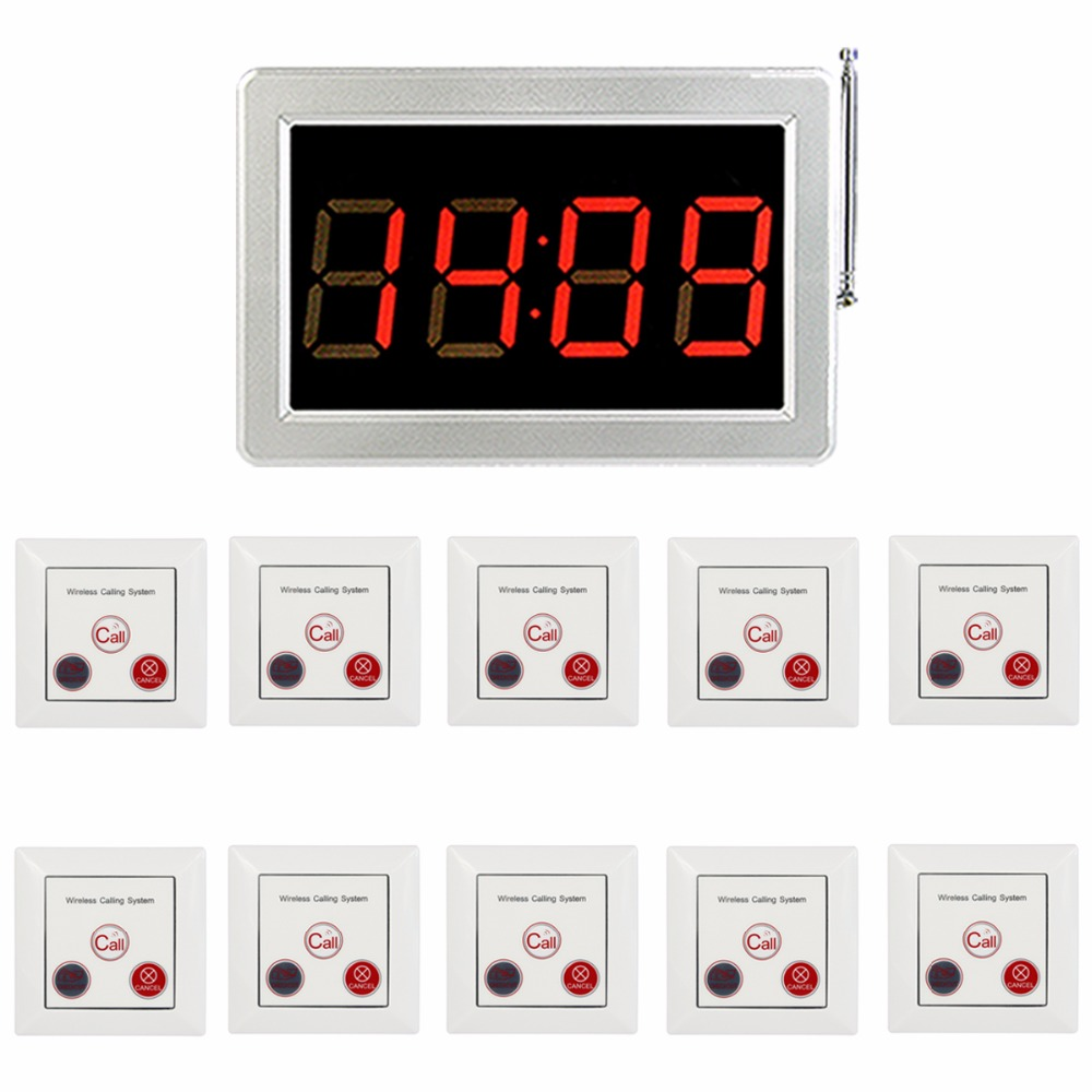 433MHz Restaurant Pagers Waiter Call Pager Calling Paging System Receiver Host White Three-Key Call Button Transmitter F4418B tivdio 999 channel wireless restaurant calling paging system waiter call bell pager 3 watch receiver 15 call button f3287b