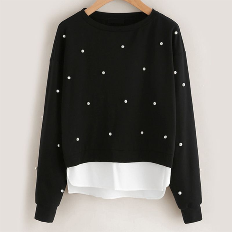 Autumn Winter Stitching Swallowtail Round Neck Black White Fake 2 Piece Sweatshirts Women Pearl Long Sleeve Keep Warm Hoodies