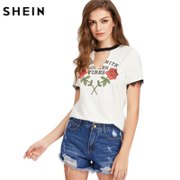 SheIn Casual T Shirts Women 2017 Summer Contrast V Cut Out Neck Lace Trim Rose Print
