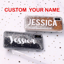 Liquid Glitter Sparkle Silver Rose Gold Name Soft Phone Case For iPhone 6S XS Max 7 7Plus 8 8Plus X 11 Pro Max XR Custom