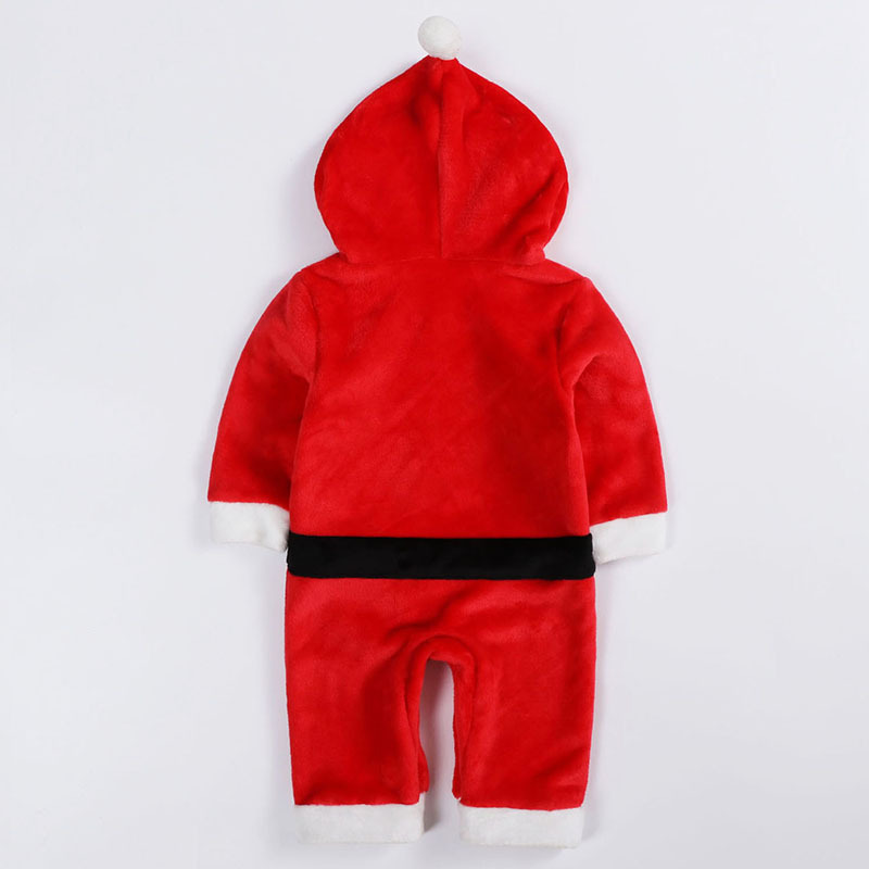 Children Christmas party dressed up rompers Santa cosplay costume for kids winter thicken flannel hooded sets