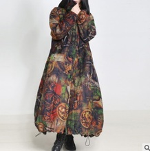 Зимой 2016 новые продукты, высокого класса свободные большие ярдов вельвет женская оригинальный дизайн длинные хлопка мягкой одежды