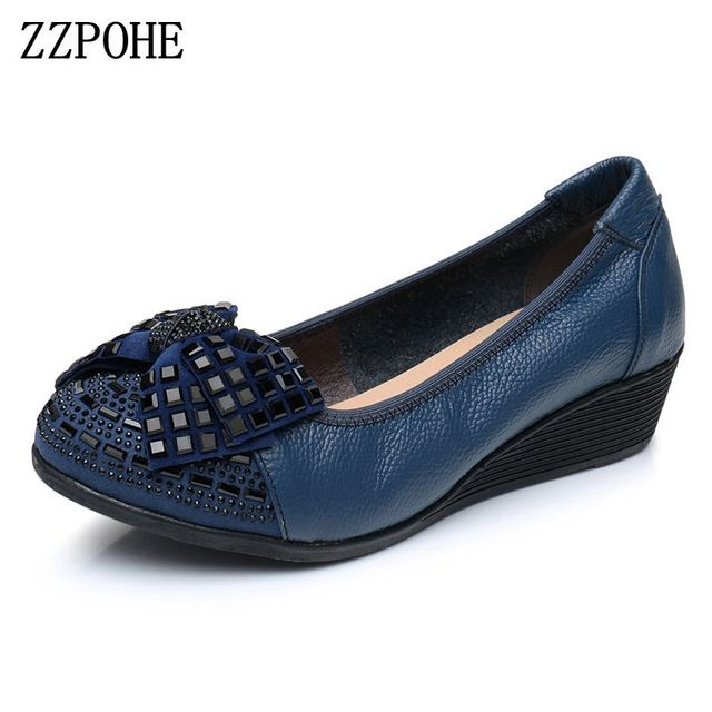 16f688677 Весенне-Осенняя обувь с закрытым носком для мам, кожаные мягкие тонкие  туфли для пожилых