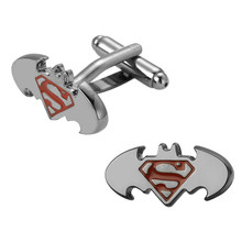 Men's shirts Cufflinks high-quality copper material  Super Hero Black Batman Cufflinks 2 pairs of packaging for sale