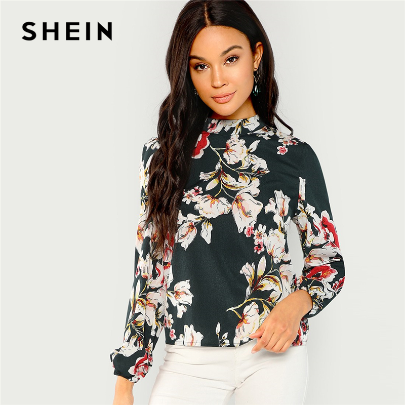SHEIN Green Elegant Office Lady Floral Print Mock Stand Collar Long Sleeve Blouse Autumn Highstreet Women Tops And Blouses