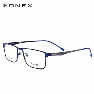 سبائك التيتانيوم وصفة طبية نظارات الرجال خفيفة مربع قصر النظر النظارات الطبية إطار بصريات معدني Screwless نظارات