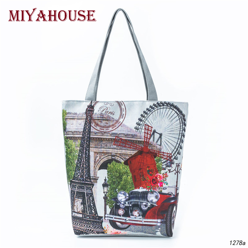 Classic Vintage Print Women Shoulder Bag Summer Beach Bags Female Canvas Tote Handbags New Design Casual Shopping Bags