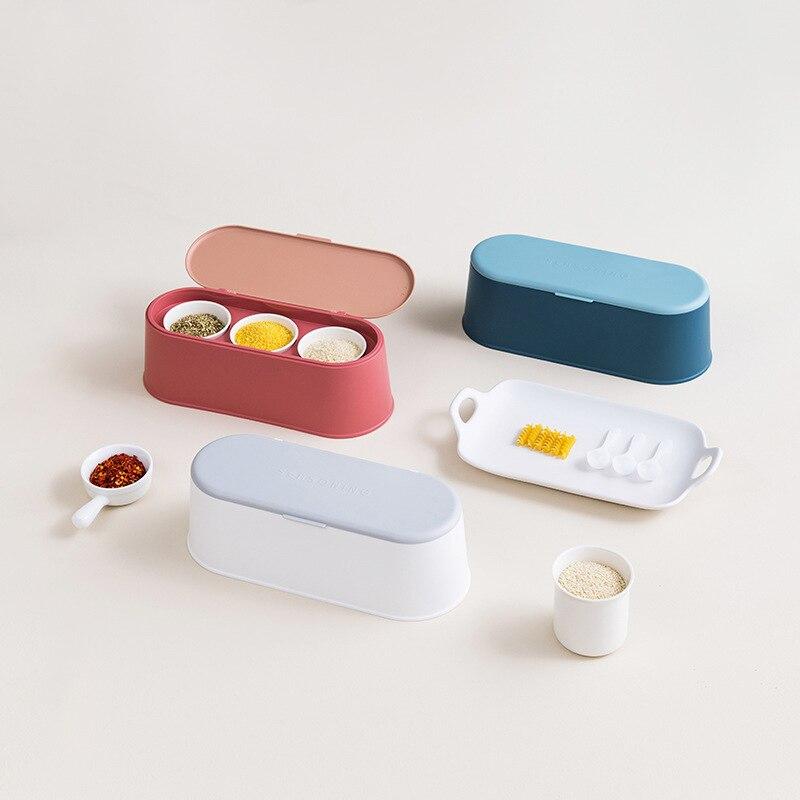 3pcs/set kitchen containers with lid set Black pepper bottle sugar salt storage container box airtight container kitchen storage
