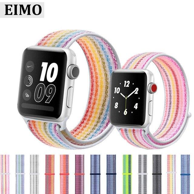EIMO Спортивная петля ремешок для Apple Watch группа 4 42 мм 44 iwatch Группа 3 38 мм/40 Корреа нейлон наручный браслет, ремешок интимные аксессуары